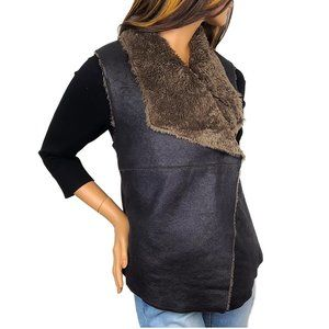NWT Dylan Faux Leather/Fur  Snap Vest